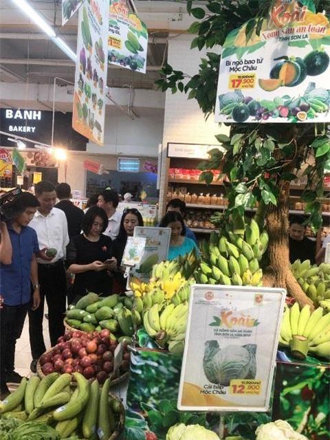 Xoài và các nông sản an toàn Sơn La được giới thiệu bắt mắt trong siêu thị Big C
