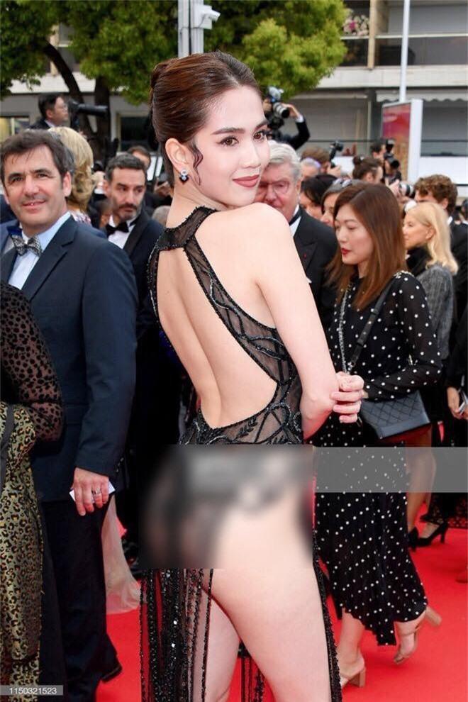 Ngọc Trinh lần đầu đi thảm đỏ Cannes đã gây sốc với trang phục hở hang nhức mắt, khoe thân phản cảm - Ảnh 3.