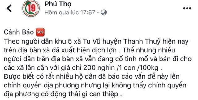 Triệu tập thanh niên tung tin thất thiệt về dịch tả lợn trên Facebook - 1