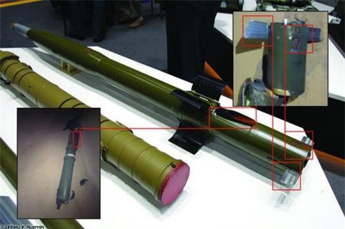 Phần còn lại của tên lửa chống tăng 9M123 Khrizantema được tìm thấy trên chiến trường