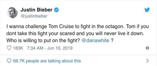 Justin Bieber thách đấu với Tom Cruise? - Ảnh 1.