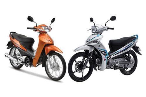 Honda Wave Alpha và Yamaha Sirius (phải).