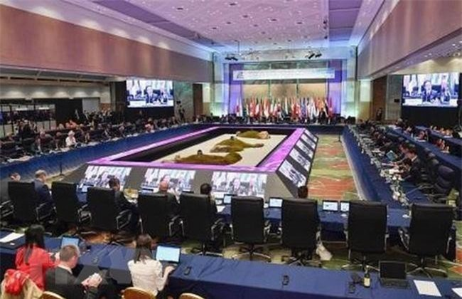 Các Bộ trưởng Bộ Năng lượng và Môi trường của Nhóm G20 tại cuộc họp ở Karuizawa, Nhật Bản. (Ảnh: Kyodo/TTXVN