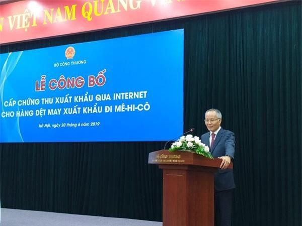 Thứ trưởng Bộ Công Thương Trần Quốc Khánh phát biểu tại Lễ công bố.