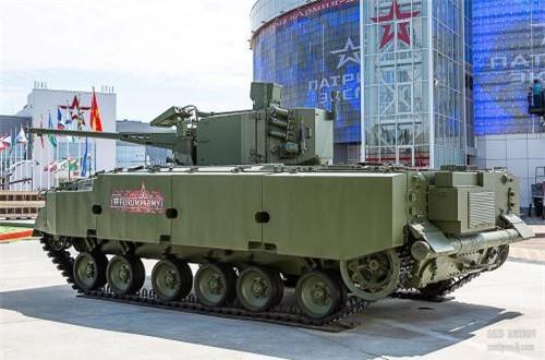 Pháo phòng không tự hành 2S38 Derivation-SV dùng khung gầm BMP-3, trang bị module tháp pháo tự động 57mm. Nguồn ảnh: SAID AMINOV
