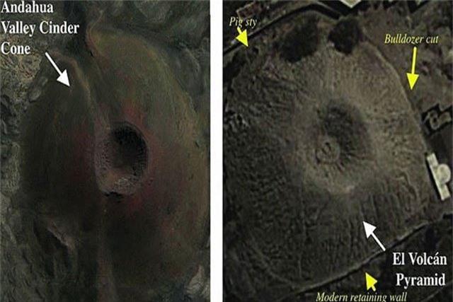 """Kim tự tháp El Volcan chụp từ trên cao, thấy rõ """"miệng núi lửa"""""""