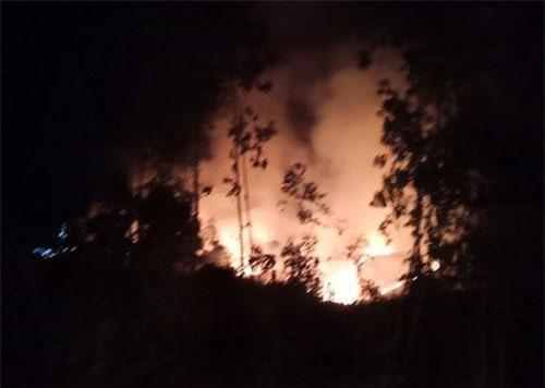Đám cháy bùng phát dữ dội trong đêm tối khiến công tác chữa cháy gặp nhiều khó khăn
