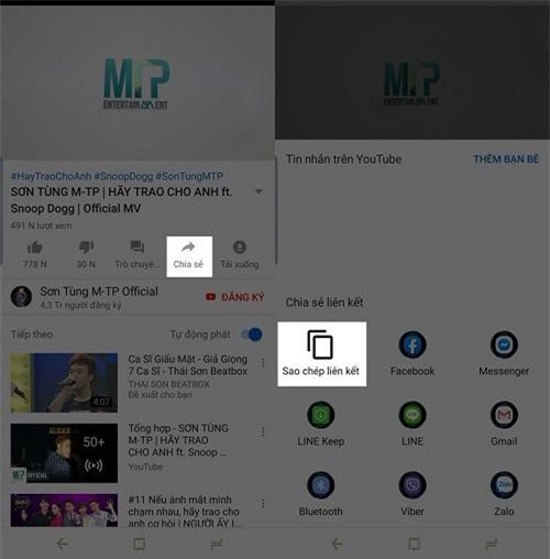 """vào ứng dụng Youtube mở video """"Hãy Trao Cho Anh"""""""