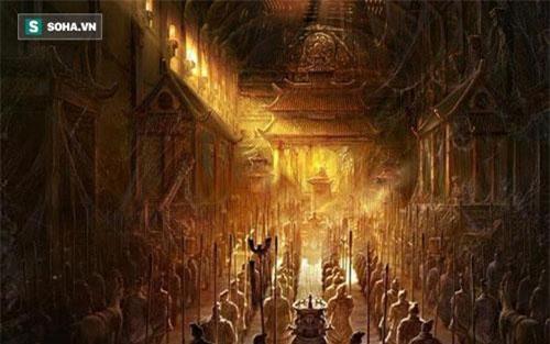 Kho báu bên trong lăng mộ Tần Thủy Hoàng vẫn là một trong những điều được hậu thế quan tâm khi nhắc tới công trình kiến trúc bí ẩn này. (Tranh minh họa).