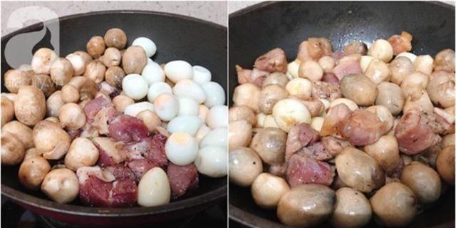 Cho một chén nước vào nấu đến khi cạn còn một chút là được. Thịt mềm thấm đều. Lúc này có thể nêm lại cho vừa khẩu vị của nhà bạn nhé! Vì nhà mình sử dụng nước mắm truyền thống nên có độ mặn hơn so với nước mắm công nghiệp.
