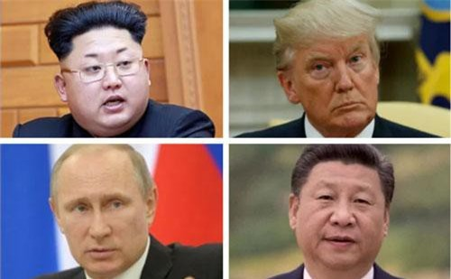 Từ trái qua phải: Nhà lãnh đạo Triều Tiên Kim Jong-un, Tổng thống Mỹ Donald Trump, Tổng thống Nga Vladimir Putin, Chủ tịch Trung Quốc Tập Cận Bình. (Ảnh: Telegraph)