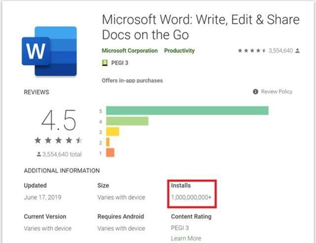 Microsoft Word đạt hơn 1 tỷ lượt cài đặt ở trên Android - Ảnh 1.