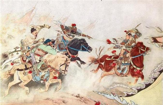 3 anh em Lưu – Quan – Trương và Lã Bố trọng trận Hổ Lao Quan.