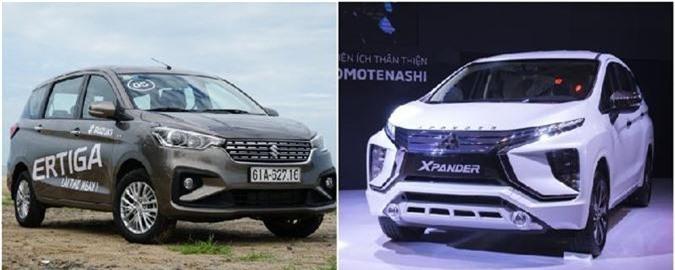 Suzuki Ertiga và Mitsubishi Xpander (phải).