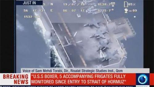 Kênh Press TV công bố video máy bay không người lái Iran giám sát hoạt động của tàu USS Boxer tại eo biển Hormuz. (Ảnh: Press TV)