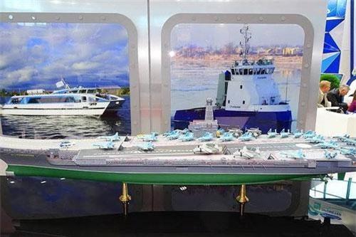 Mô hình tàu sân bay hạt nhân Lamantin do Cục thiết kế Nevskoye phát triển.