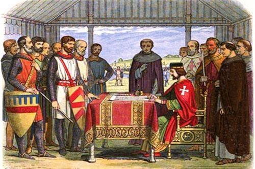 Tranh cổ: Vua John ký Magna Carta.
