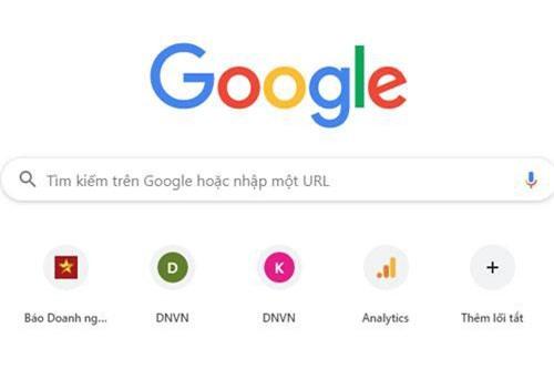 Giao diện của Google Chrome.