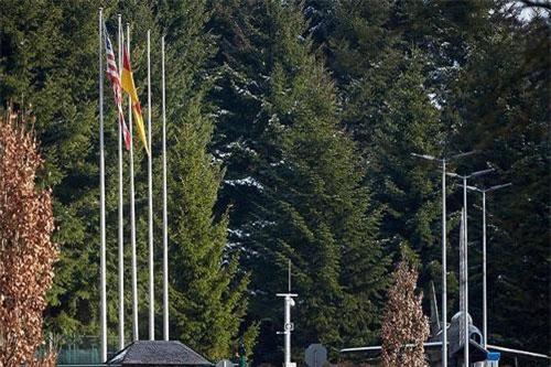 Bên ngoài sân bay quân sự Bundeswehr nơi bom hạt nhân B61 của Mỹ được cho là cất giữ ở Buechel, Đức. Ảnh: RT.