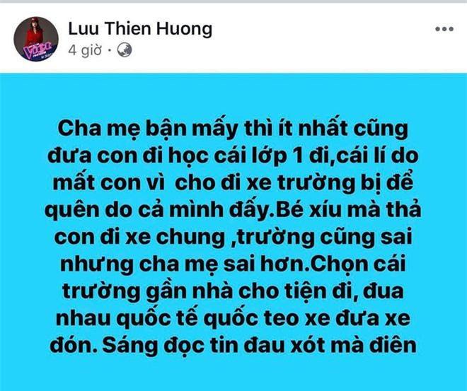 Phát ngôn của Lưu Thiên Hương về vụ việc bé trai bị tử vong trên xe bus