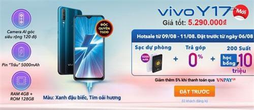 Khi đặt trước Vivo Y17, khách hàng sẽ được tặng sạc dự phòng 5.000 mAh.