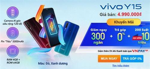 300.000 đồng là mức giảm cho khách hàng mua Vivo Y15.