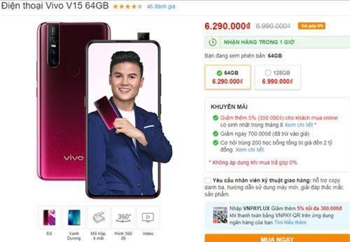Vivo V15 phiên bản ROM 64 GB có mức giảm lên tới 700.000 đồng.
