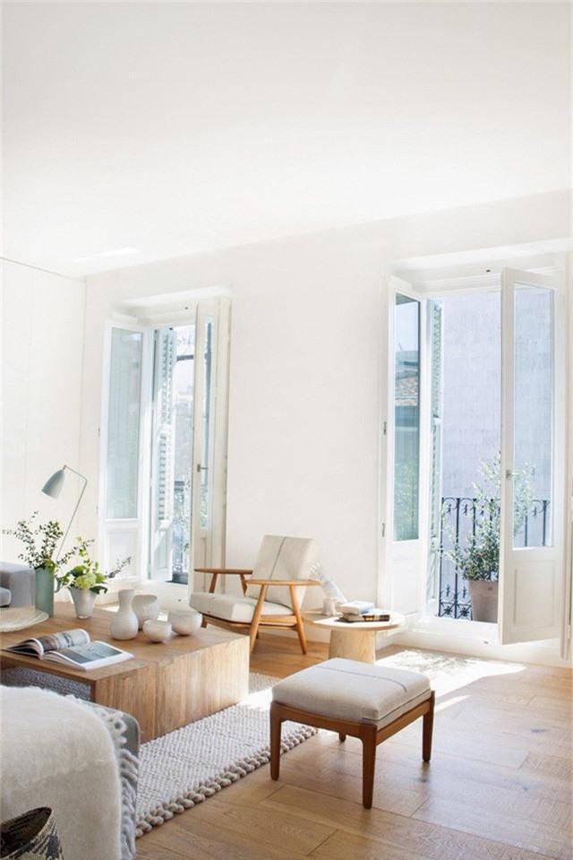 Một phòng khách trung tính với đồ nội thất bằng gỗ và một tấm thảm thoải mái trông rất tươi sáng.