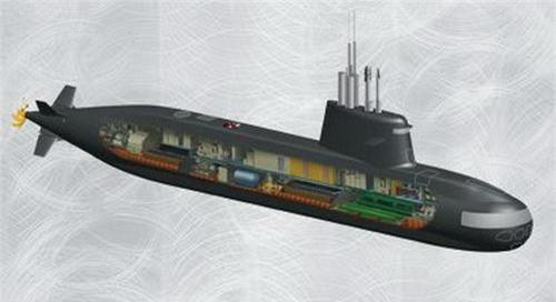 Đồ họa tàu ngầm S-1000 - sản phẩm hợp tác Nga - Italia. Ảnh: Naval Today.