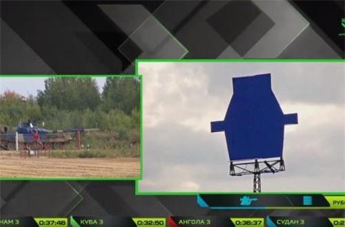"""Sự việc hài hước xảy ra trong phần thi bắn một bia mục tiêu """"giả"""" trực thăng cự ly 900m bằng súng máy 12,7 NSV đặt trên nóc tháp pháo xe tăng T-72B3. Nguồn ảnh: Tzvezda"""