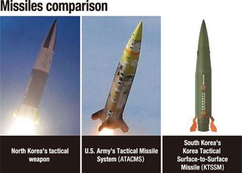 Từ trái qua phải: Tên lửa của Triều Tiên, Mỹ, Hàn Quốc (Ảnh đồ họa: Korea Times)