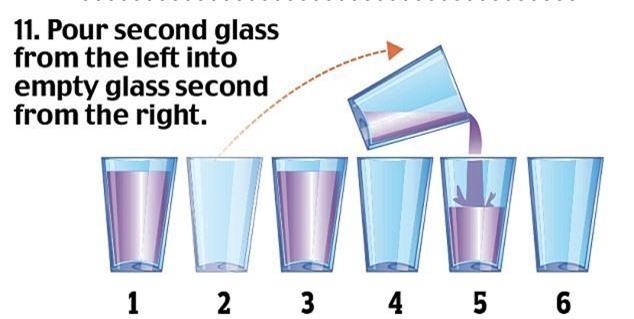 11. Lấy cốc thứ 2 đổ nước sang cốc thứ 5.