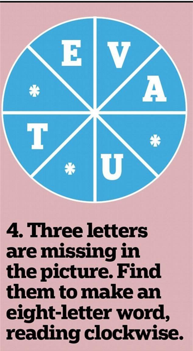4. Tìm ba chữ bị mất trong hình này để xếp thành từ tiếng Anh gồm 8 chữ cái theo chiều kim đồng hồ.