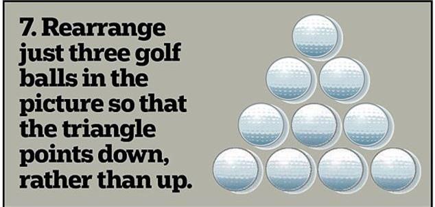 7. Xếp lại 3 quả bóng golf trong hình để tạo thành những hình tam giác đáy áp vào nhau.