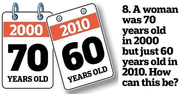 8. Một bà lão tròn 60 tuổi vào năm 2010 nhưng lại tròn 70 tuổi vào năm 2000. Vì sao lại thế?