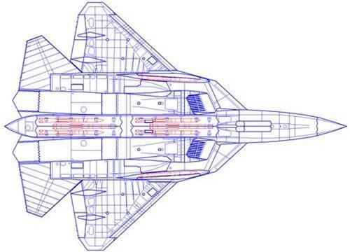 Sơ đồ khoang vũ khí của tiêm kích tàng hình Su-57. Ảnh: TASS.