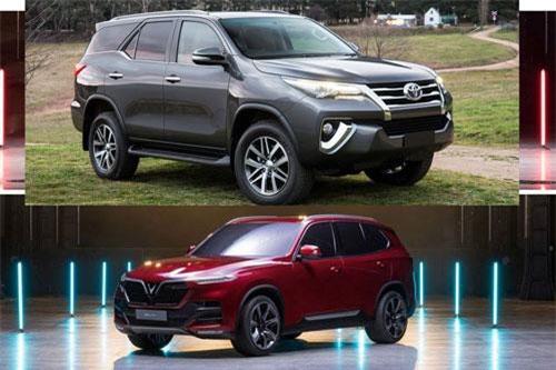 Toyota Fortuner (trên) và VinFast Lux SA 2.0.