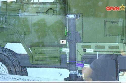 Bệ phóng với chân trống thủy lực giữ cố định khi khai hỏa tên lửa. Ảnh: QPVN