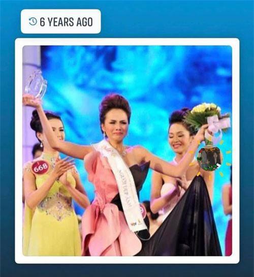 Diễm Hương chia sẻ bức ảnh mình bật khóc khi giành vương miện và trải lòng sau 9 năm đăng quang trên trang cá nhân.