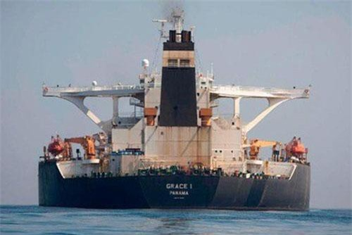 Tàu dầu Iran Grace 1 tại vùng biển Gibraltar ngày 15/8. Ảnh: AP.