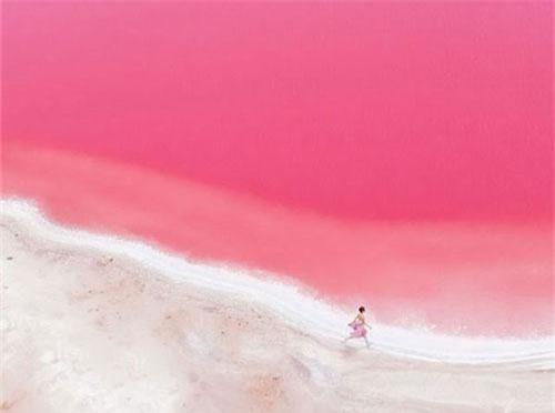 Vẻ đẹp kỳ diệu của tạo hóa với hồ nước màu hồng như cổ tích.