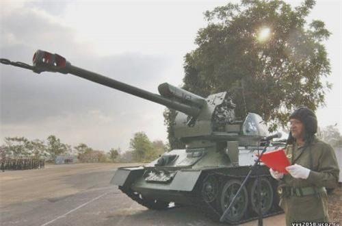 """Theo Rossiyskaya Gazeta, với tiềm lực công nghiệp quốc phòng hiện có, Quân đội Cuba đã """"hồi sinh"""" xe tăng T-34 và T-55 của Liên Xô với vai trò mới là hệ thống phòng không và pháo tự hành. Ảnh: Pinterset"""