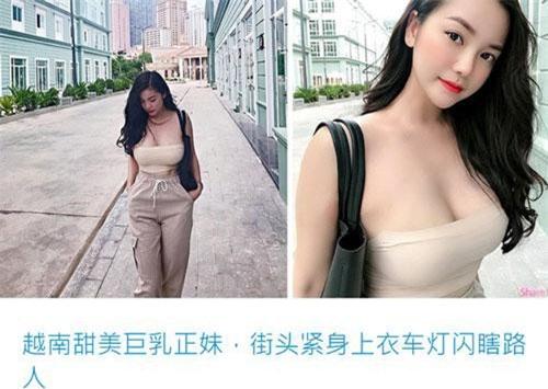 """Hồng Nhung xuất hiện trên báo trung, trong bài viết có tựa: """"Hot girl ngực khủng đến từ Việt Nam, diện trang phục bó sát tỏa sáng trên đường phố"""""""