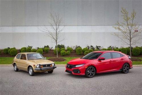 Honda Civic 1972 (trái) và Civic 2019.