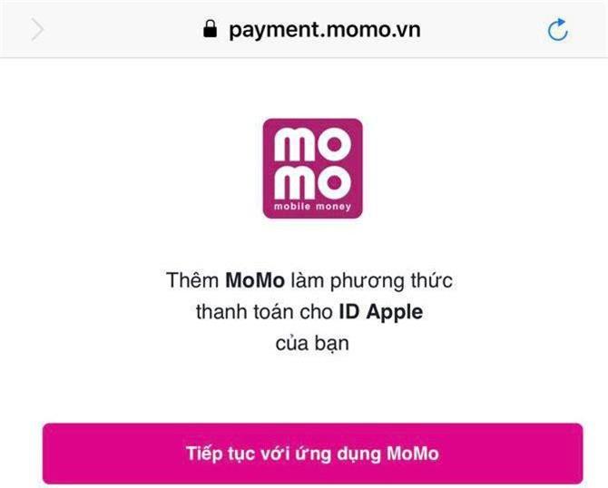 Ví điện tử MoMo đã được liên kết với kho ứng dụng Apple Store.