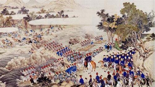Tranh minh họa Lê Chiêu Thống rước quân Thanh về giày mả tổ.
