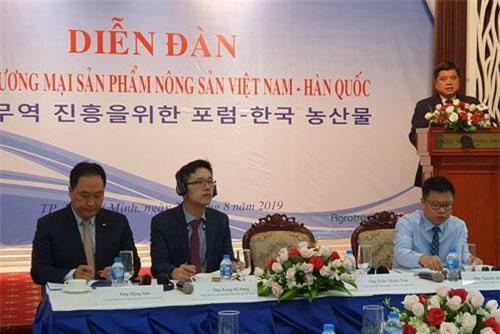 Thứ trưởng Bộ NN&PTNT Trần Thanh Nam phát biểu tại Diễn đàn xúc tiến thương mại sản phẩm nông sản Việt Nam-Hàn Quốc, ngày 29/8, tại TPHCM. Ảnh: VGP/Thu Lê