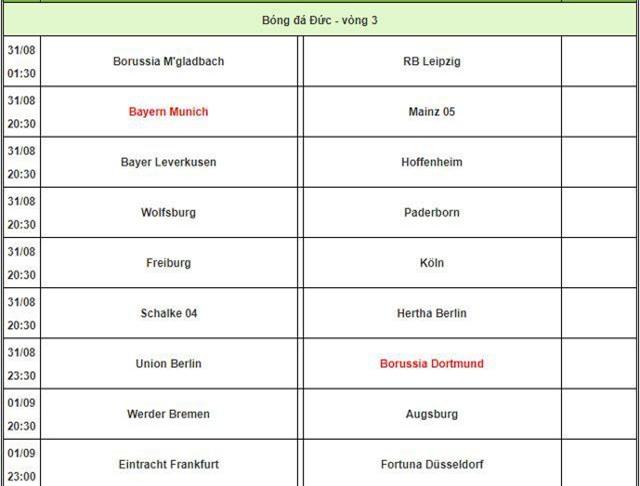 Lịch thi đấu và phát sóng Bundesliga.