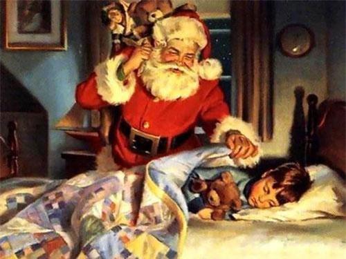 Ông già Nôen. Với bộ đồ màu đỏ viền trắng, thắt lưng da đen, đội chiếc nón màu đỏ cùng chòm râu dài trắng, ông già Nô-en thường khoác chiếc túi đựng quà trên vai với nhiệm vụ tặng quà và mang niềm vui đến cho trẻ em vào đêm Giáng sinh.