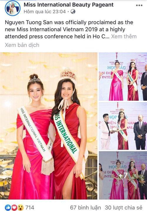 Thông tin và hình ảnh của Tường San được đăng tải trên trang chủ cuộc thi Miss International.
